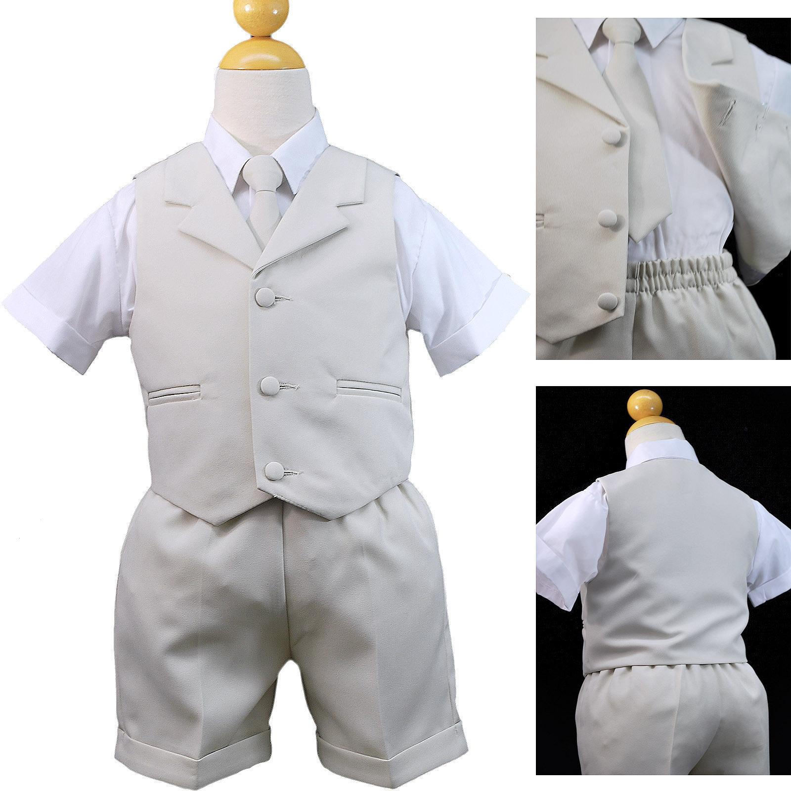 Baby Infant Toddler Formal Light Khaki 4pc Tie Vest Shorts Sets Boy Suit sz S-4T