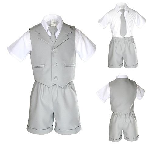 e8d838263 New Baby Toddler Formal Eton Gray 4pc Tie Vest Shorts Boy Suit ...