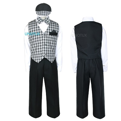 INFANT BOY /& TODDLER  FORMAL  BLACK CHECKER VEST SHORTS SUIT S M L XL 2T 3T 4T