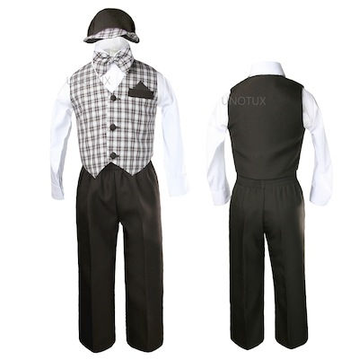 New Baby /& Boy Gingham checks Easter Gray hat Vest Set 5pc Suit New born to 4T