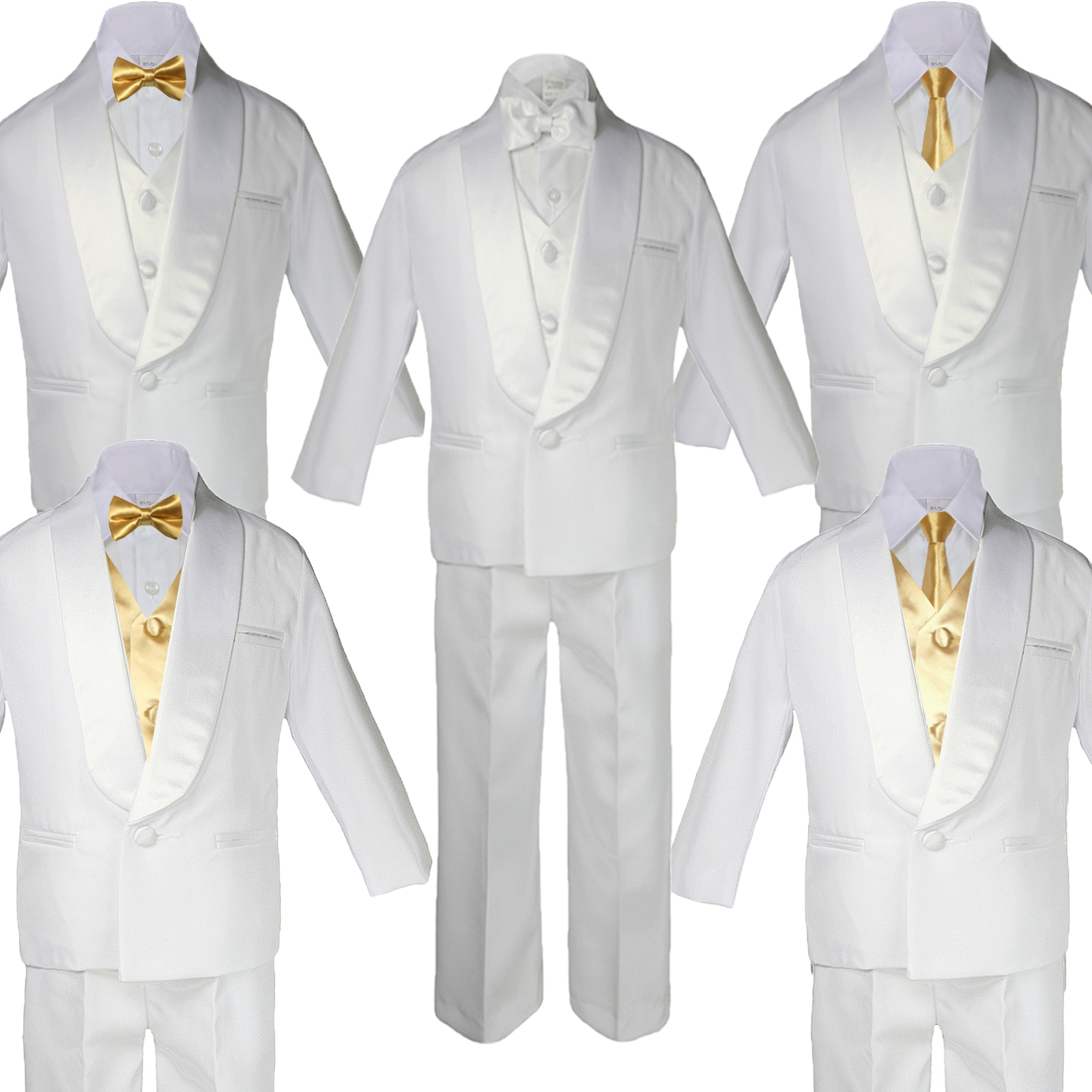 e6e0d94f9ef8 ... White Shawl Lapel Tuxedo with MUSTARD Bow Tie, Necktie, and Vest.  Choose your own Style. BY013