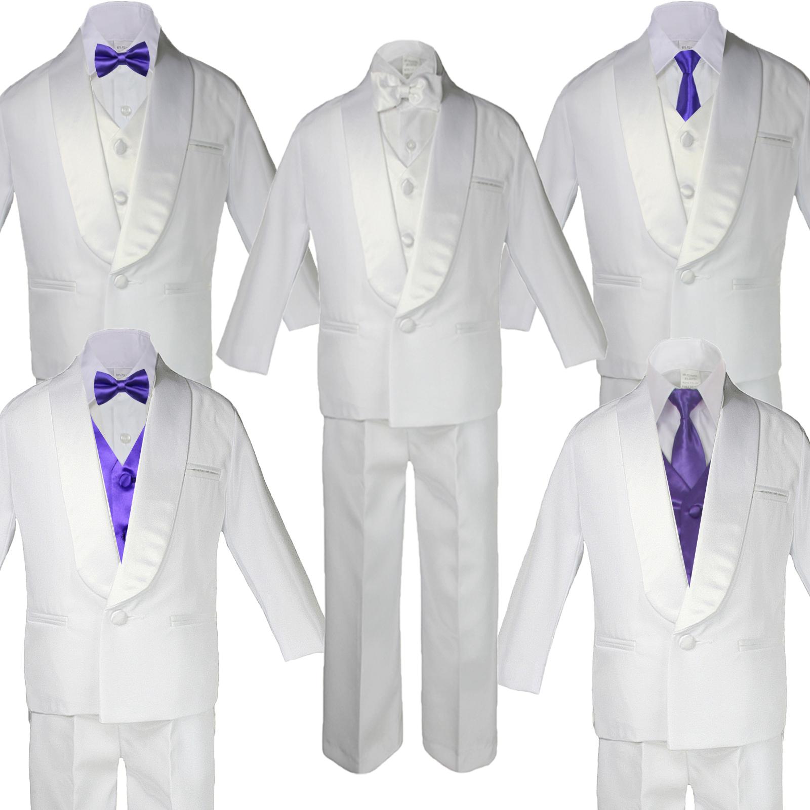 5-7pc BABY BOY White Formal Shawl Lapel Suit Tuxedo GOLD Satin Bow Necktie Vest