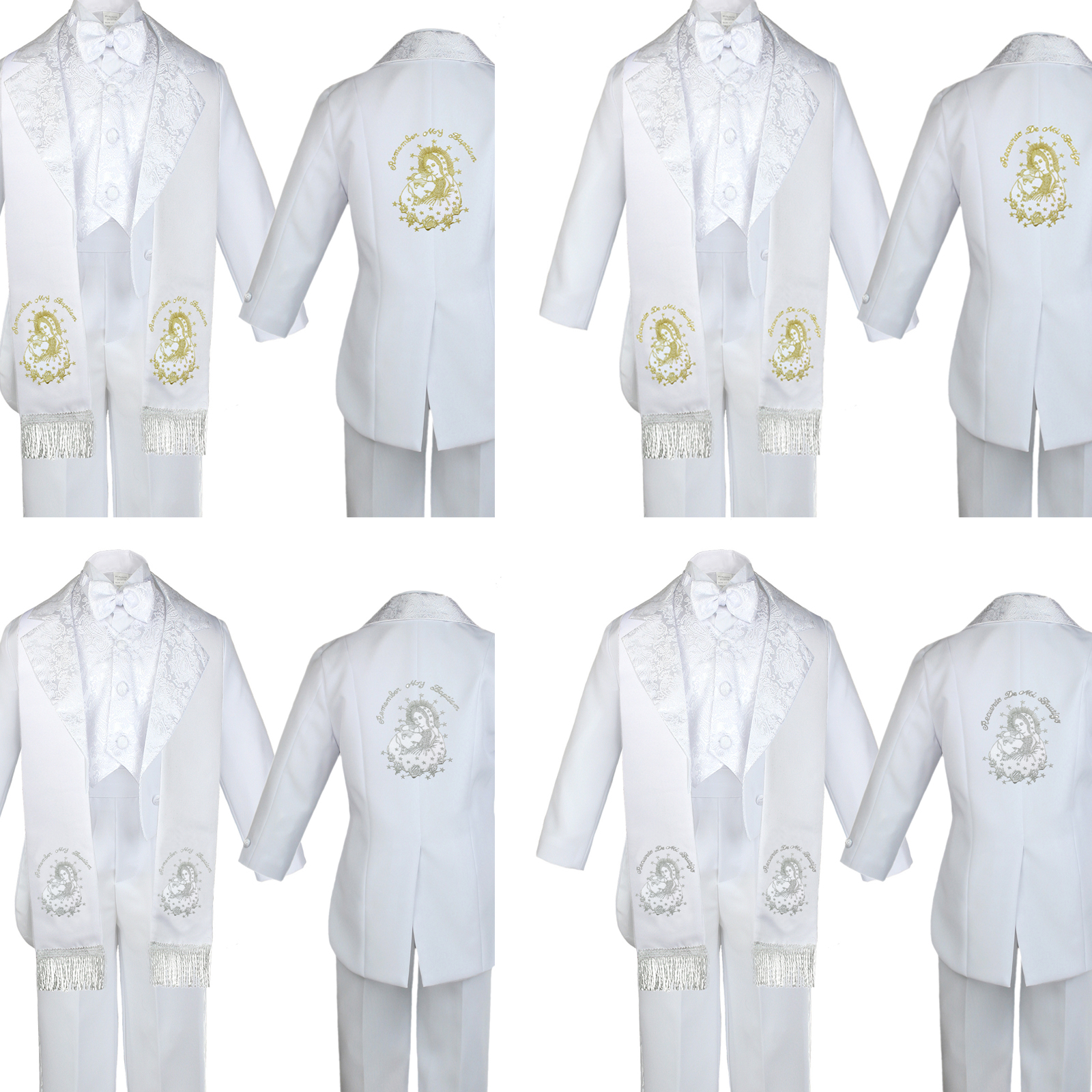 Boy Baby Baptism White Tuxedo Suit Embroidery Color Silver Maria Pope Stole Sm-7