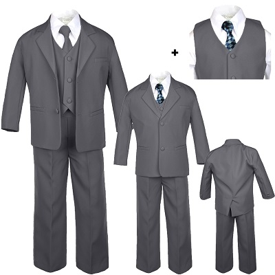 New Baby Toddler Boys WHITE Jacket BLACK Pants Suit Recital Baptism Wedding Ring Bearer BY013 Gold