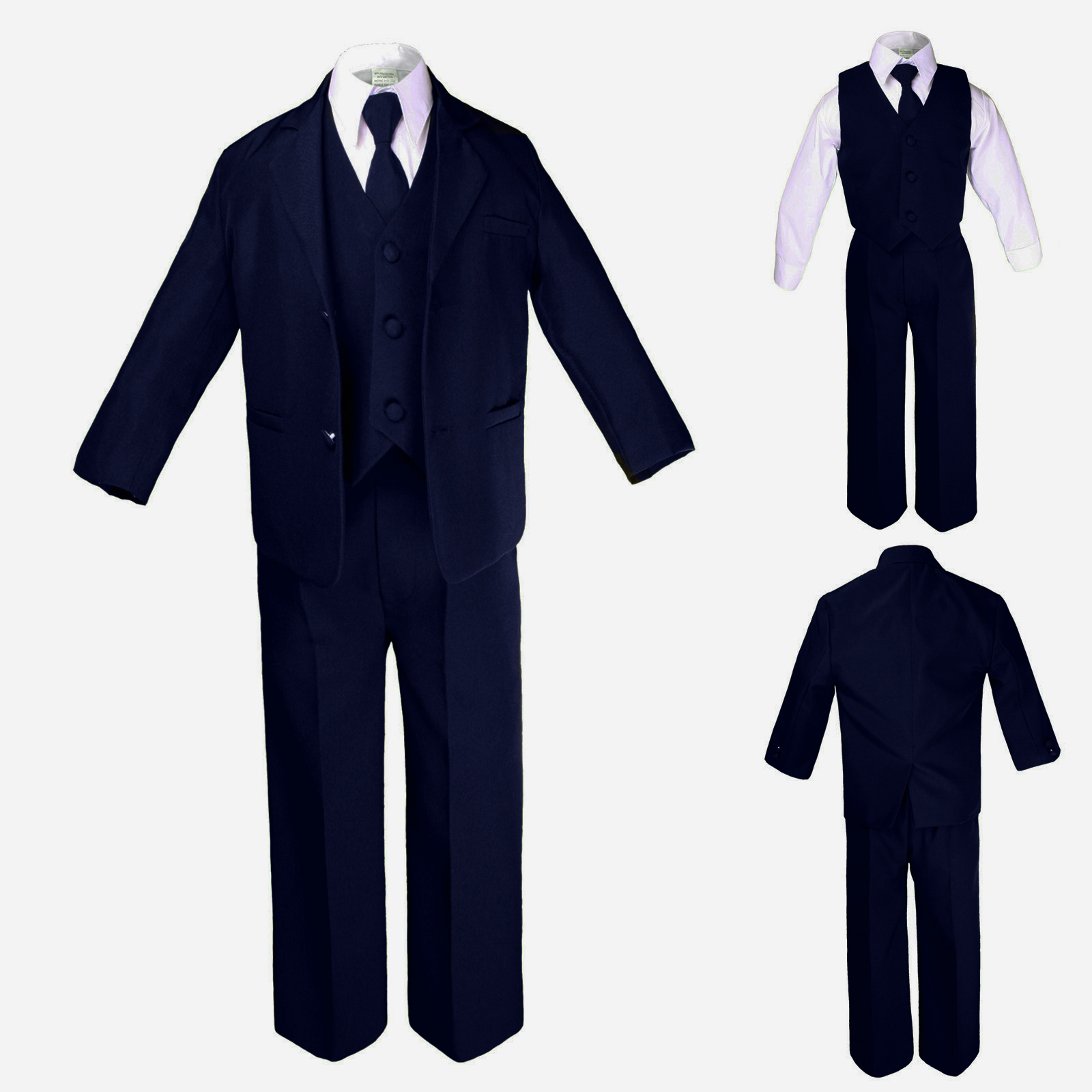 ee1207905160 New Boy Baby Toddler Teen Formal Wedding Party Navy 5pc Suit Tuxedo ...