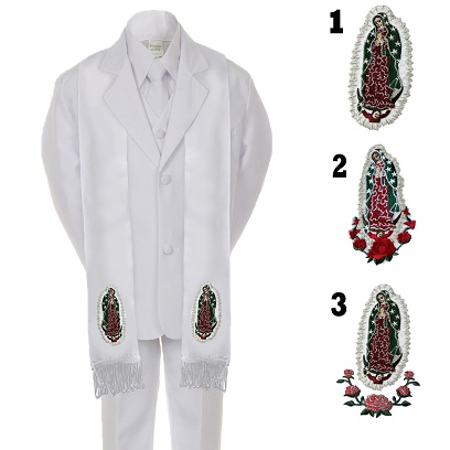 Unotux Baby Boy Christening Baptism White Tail Suit Silver Guadalupe On Back SM-20