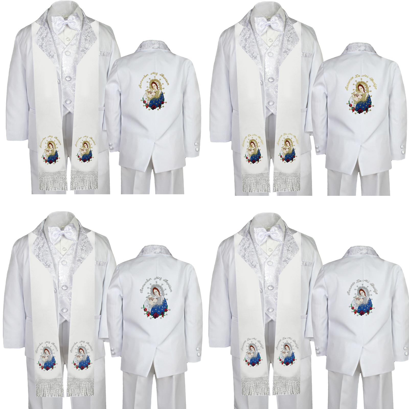 Baby Boy Kids Toddler Baptism White Tuxedo Color Silver Virgin Mary On Back Sm-7