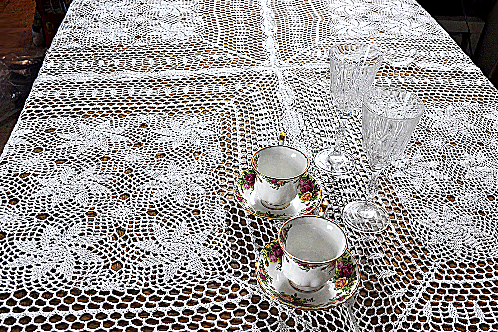 Handmade Crochet Lace Tablecloth Living Room Runner Cover Table