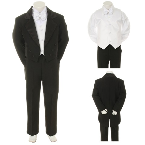 5pc Formal Wedding Boys Black Vest Necktie Set Suits from Baby to Teen S: 0-6 months