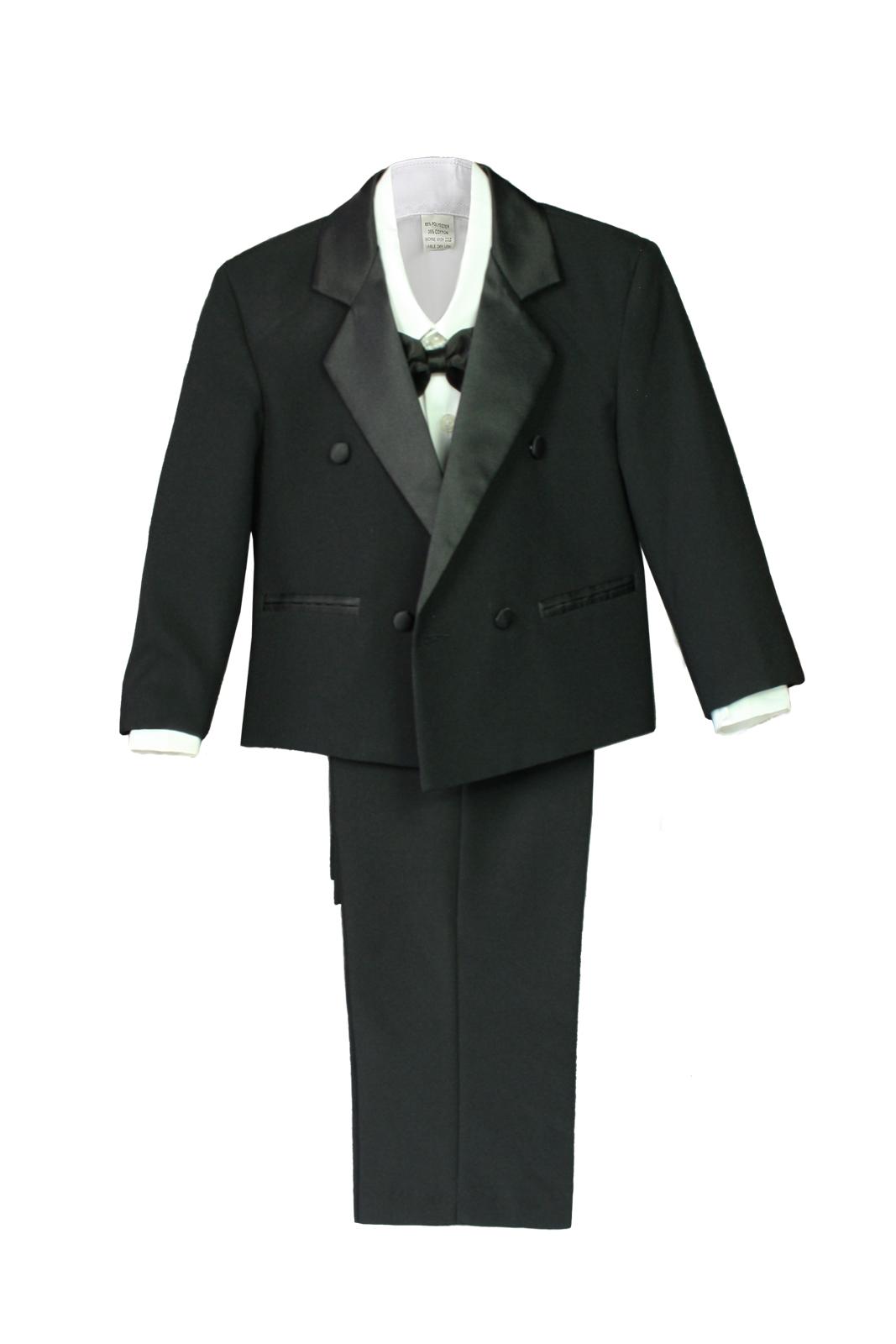 Boy Baby Kid Wedding Formal Wear Party Black 5pc Double Breast Suit Tuxedo S-XL