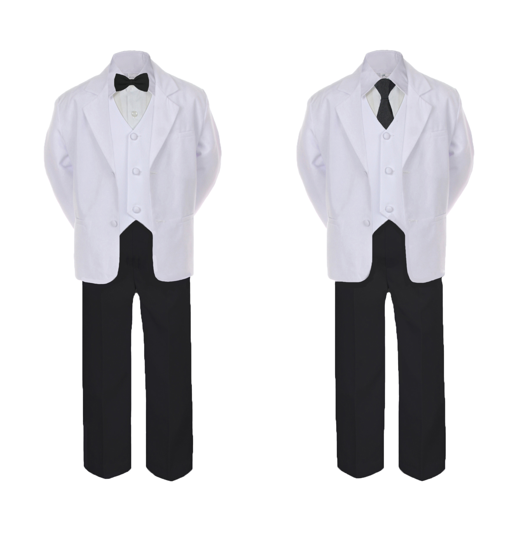 5pc Baby Toddler Boy Teen Formal White Black Bow Tie or Necktie Suit Set Sm-20