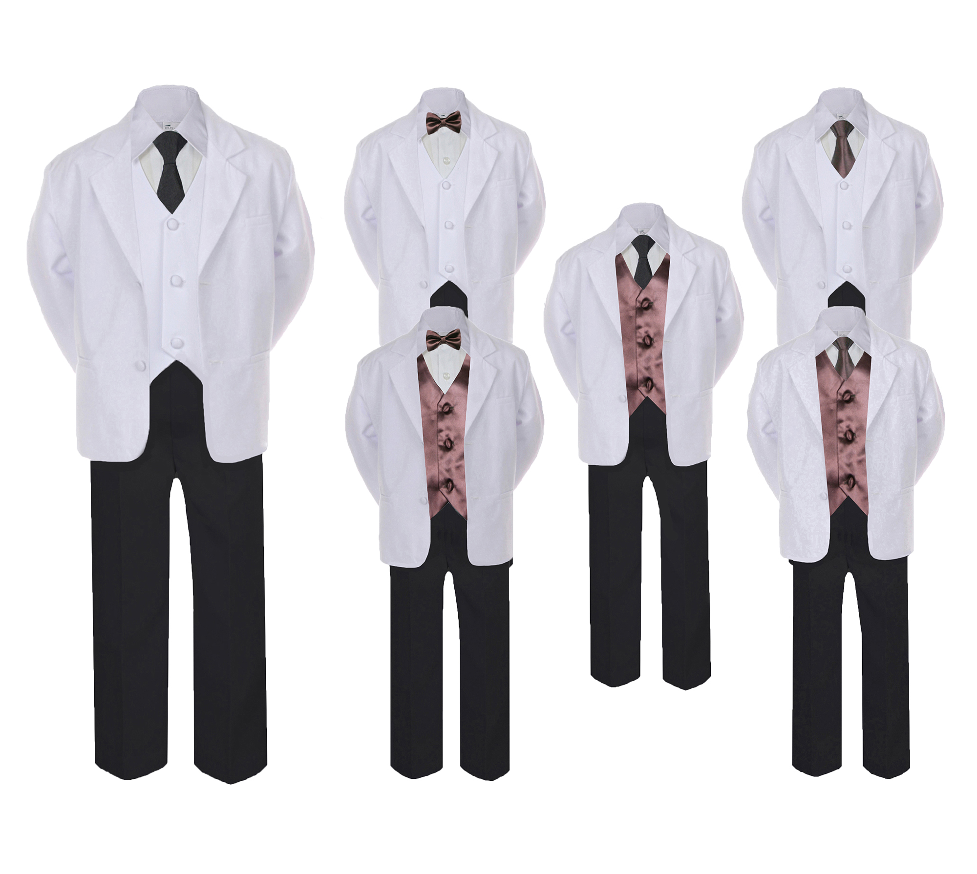 6pc Baby Toddler Boy Teen Formal Party Suit w//Satin Bow Tie Medium Gray 2T-20