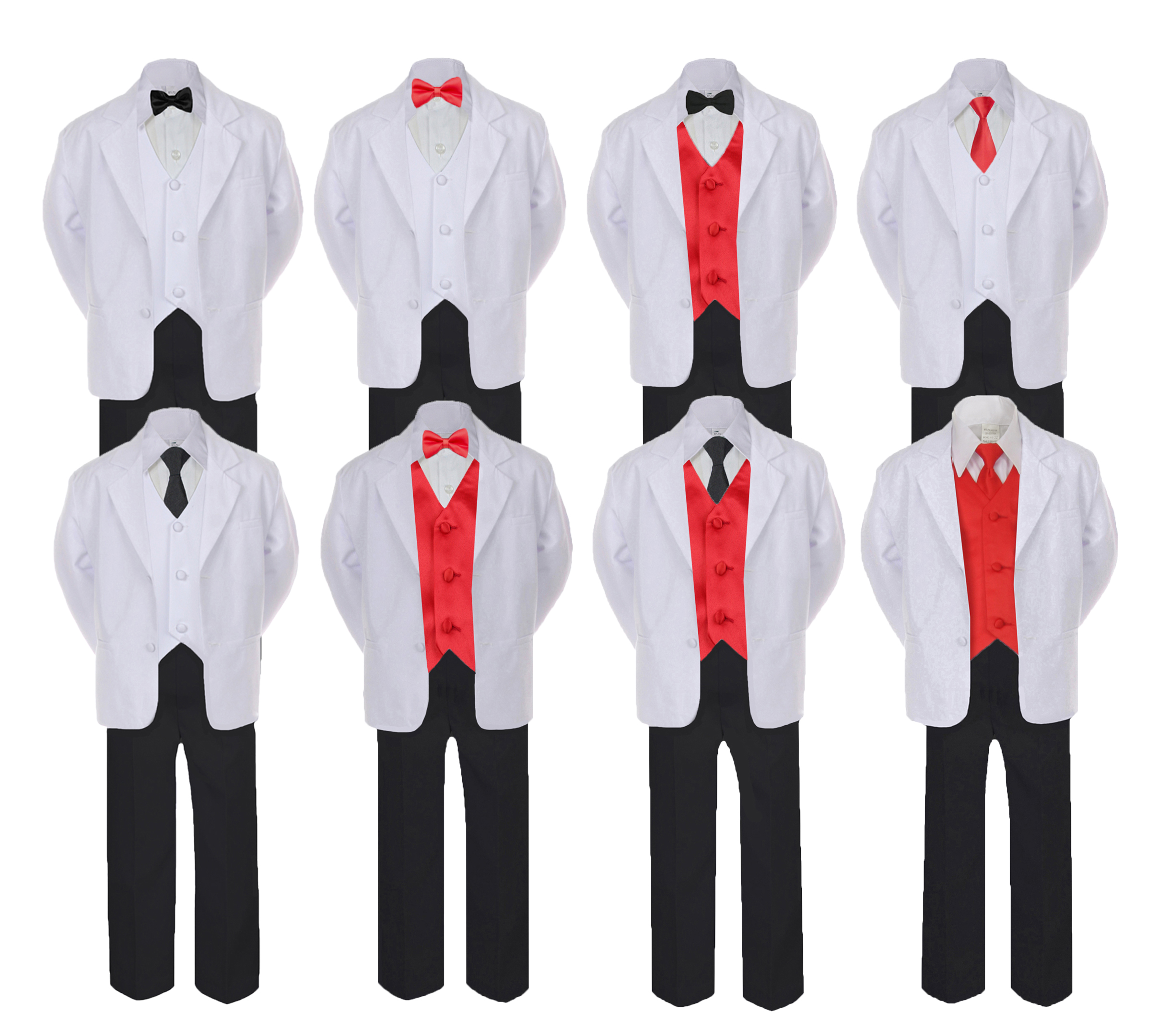 f9cdec092647 5-7pc Formal Black & White Suit Set Red Bow Necktie Vest. Boy Baby Small-20  Teen. 5 pieces set: