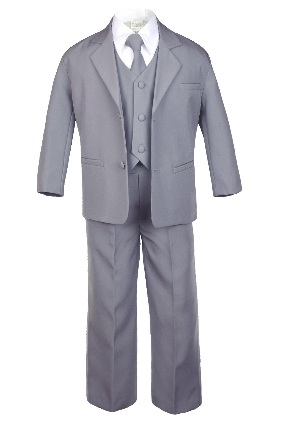 5pc New Born Boy Kid Teen Wedding Dark Gray Blazer Formal Tuxedo Suit Set S-20
