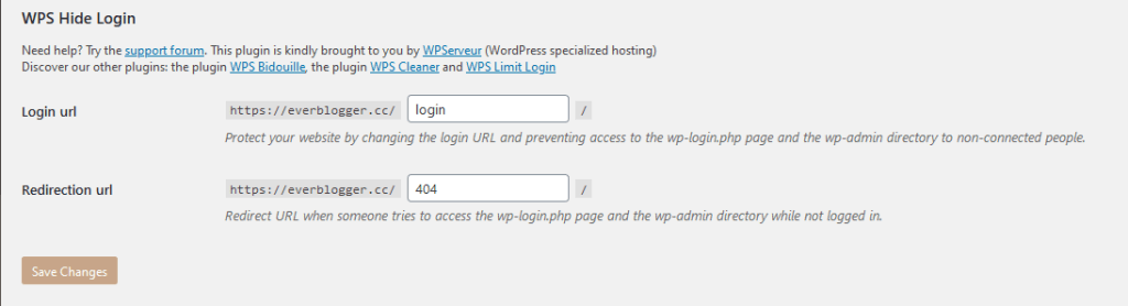 WPS Hide Login Setting