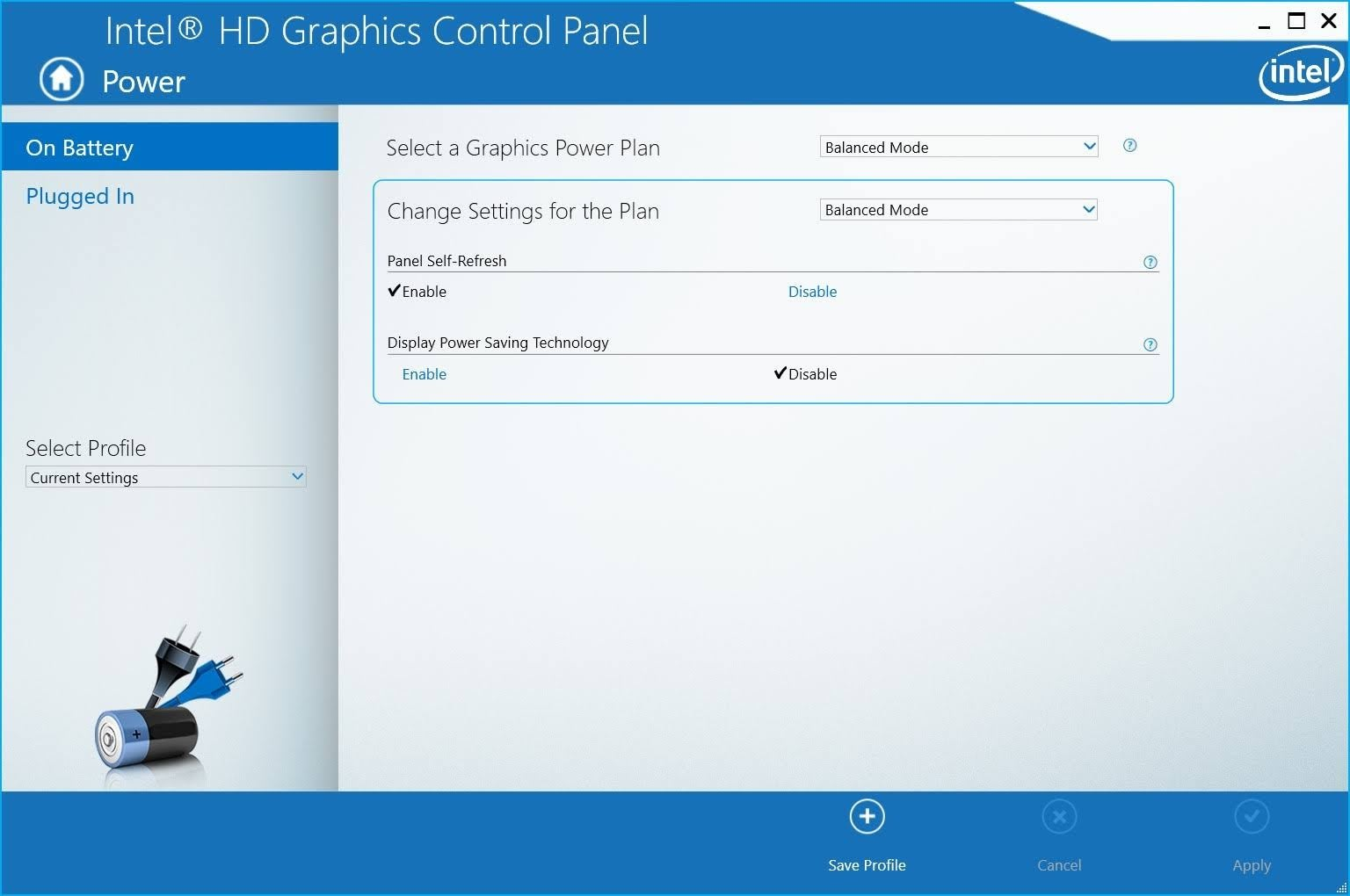 Intel HD Grapgics Control Panel setting