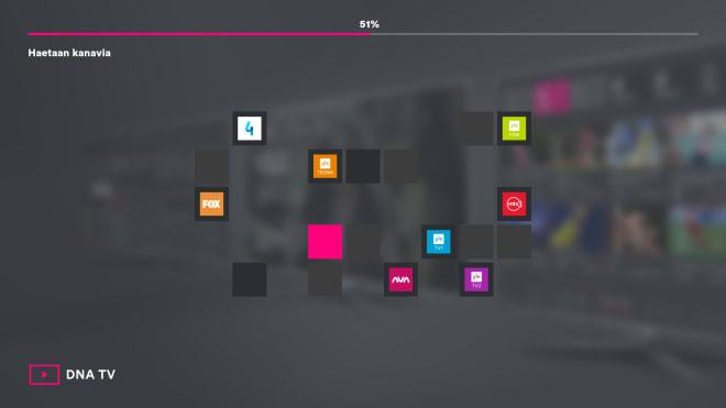 DNA TV-hubin käyttöönotto: automaattinen kanavahaku.