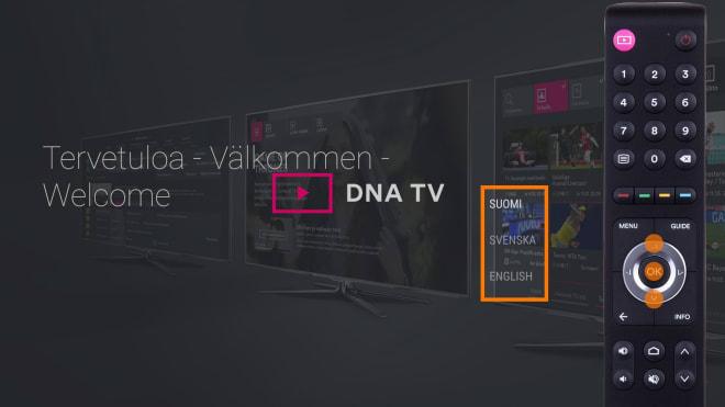 DNA TV-hubin käyttöönotto: järjestelmän kielen valinta