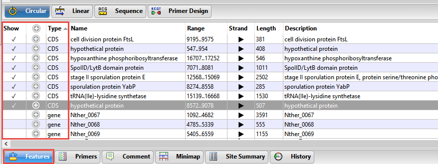Features view in SeqBuilder Pro