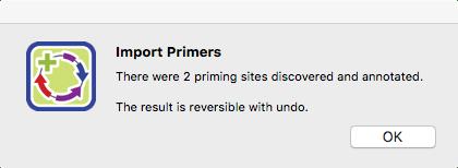 SeqBuilder Pro Import Primers popup