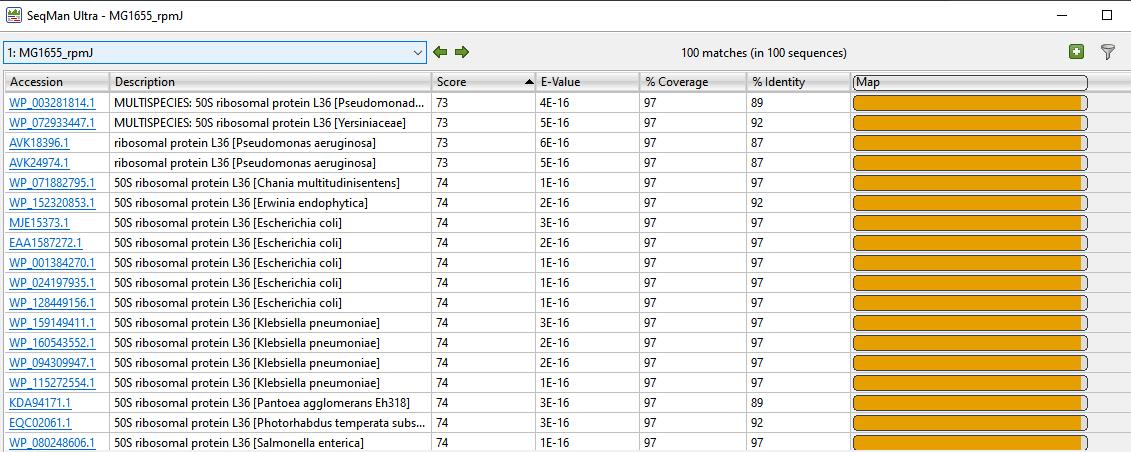 BLAST search results in SeqBuilder Pro