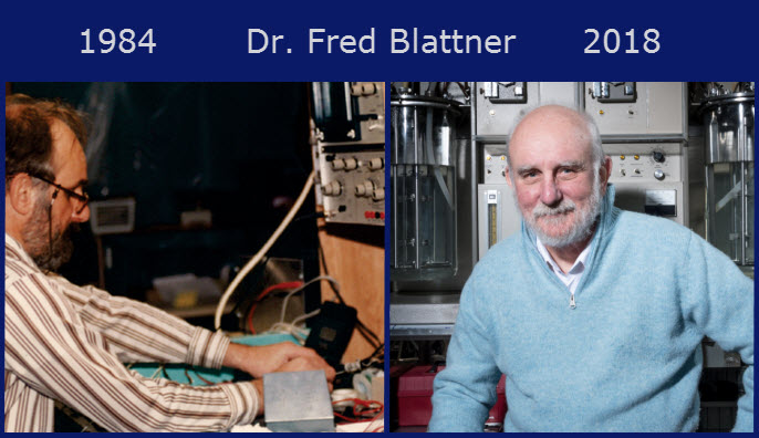 Dr. Fred Blattner in 1984 and 2018
