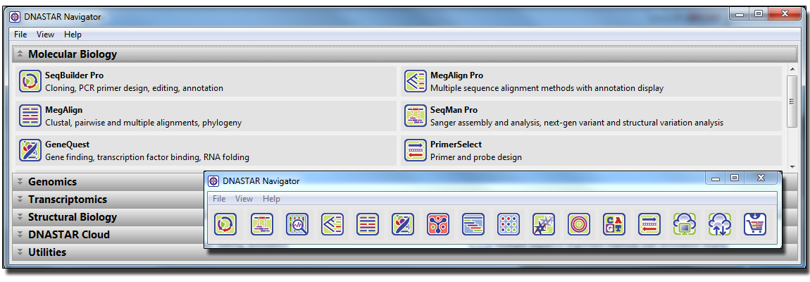 DNASTAR Molecular Biology Suite Icons: Comprehensive sequence analysis and alignment software