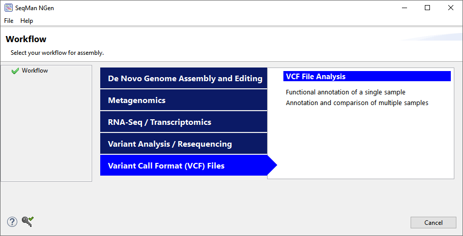 SeqMan NGen's Workflow screen provides single- and multiple-sample options for the VCF Annotation workflow.