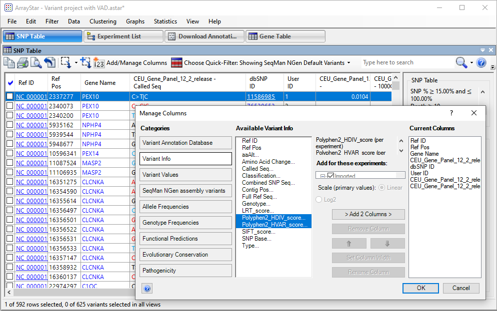 "ArrayStar's ""Add/Manage Columns"" dialog lets you choose which data columns to display in a given table. Options include data and statistics from the Variant Annotation Database."