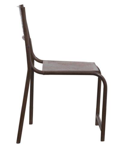 Buisframe stoel bruin zijkant