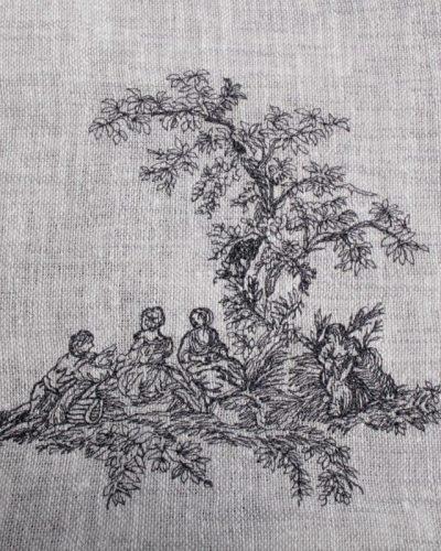 tafelloper grijs piping detail borduur