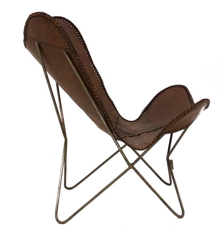 Vlinderstoel bruin zijkant