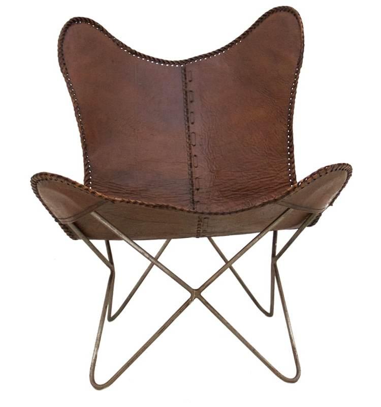 Vlinderstoel bruin voorkant