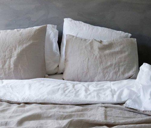 Leinen Bettbezug weiß/sand