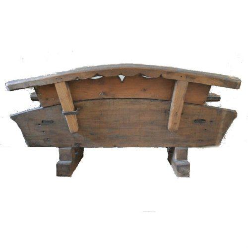 Antikes Kutscher Bänkchen Rückseite