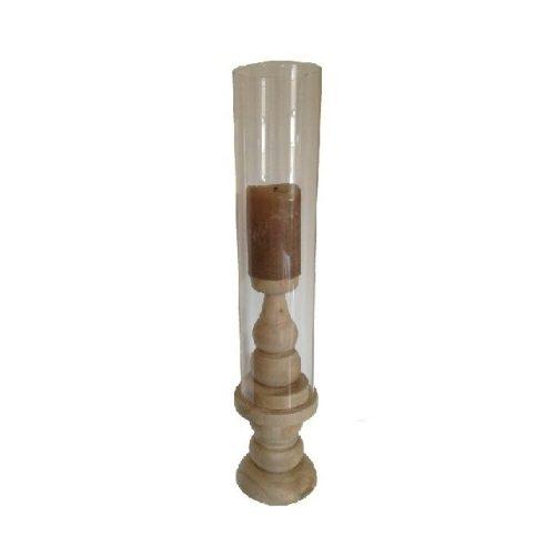 Kerzenständer gedrehtes Holz und Glaszylinder