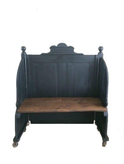 Holzbank Love Seat in schwarz
