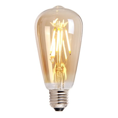 LED-lamp-druppelvorm-4W-golden-aan