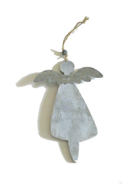Engel aus Holz und Metall Rückseite