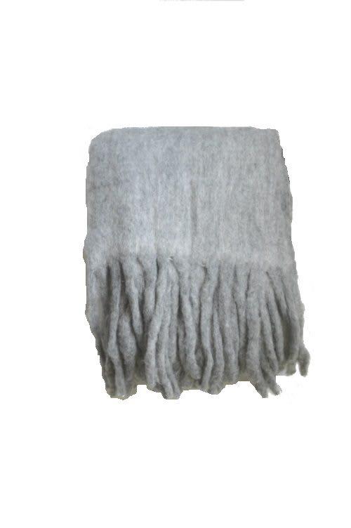 Plaid aus Wolle in grau