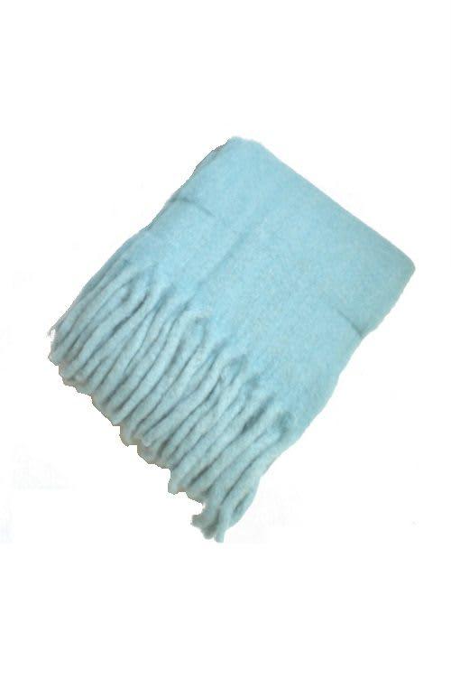 Plaid Wolle Türkis blau
