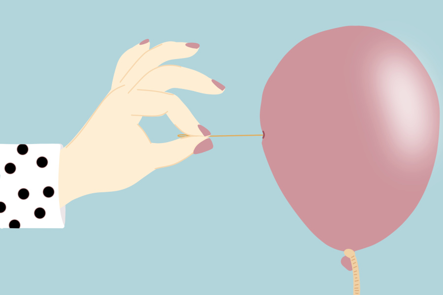 Illustration of hand popping a balloon