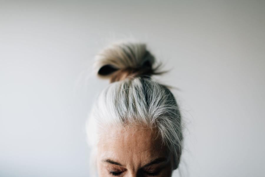 Photo of senior woman's forehead