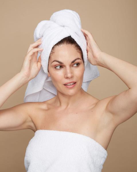 Woman wearing towel on her head