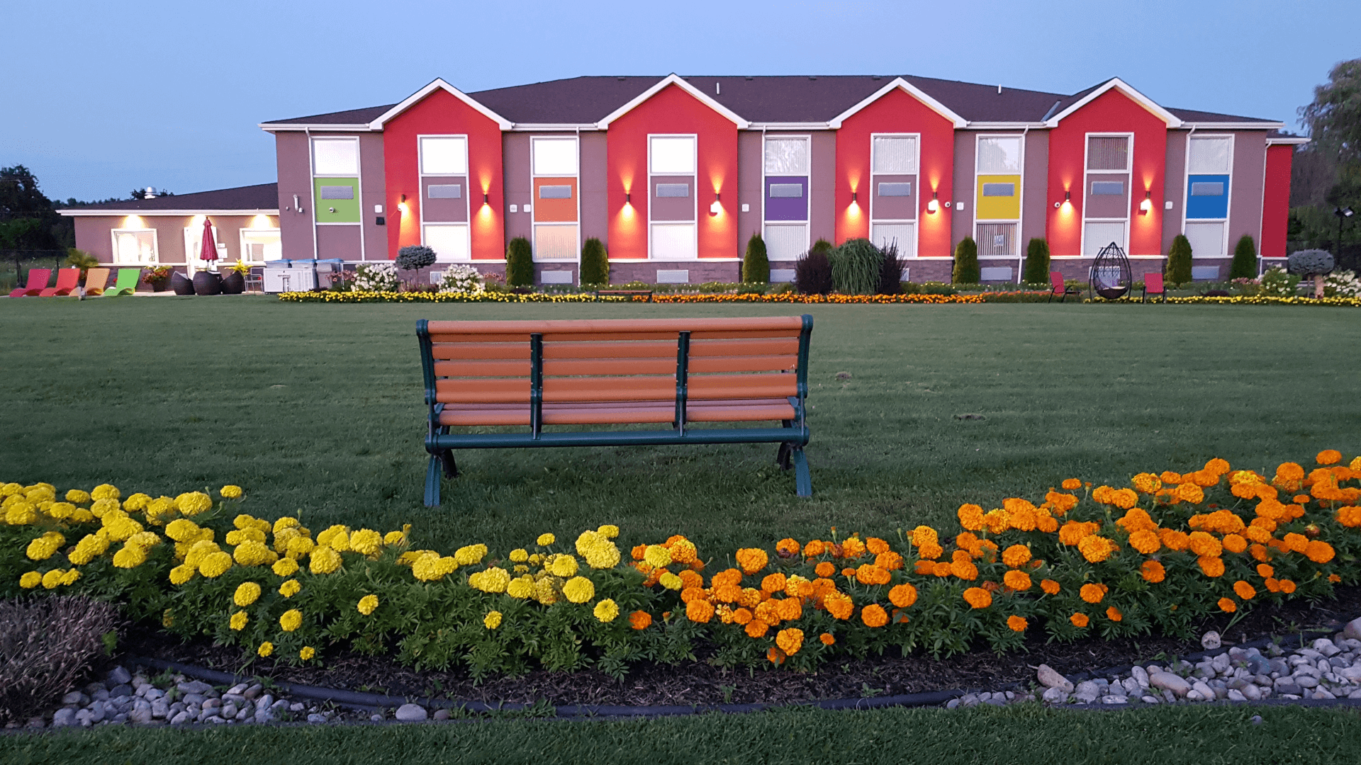 outdoor view of inn at dusk
