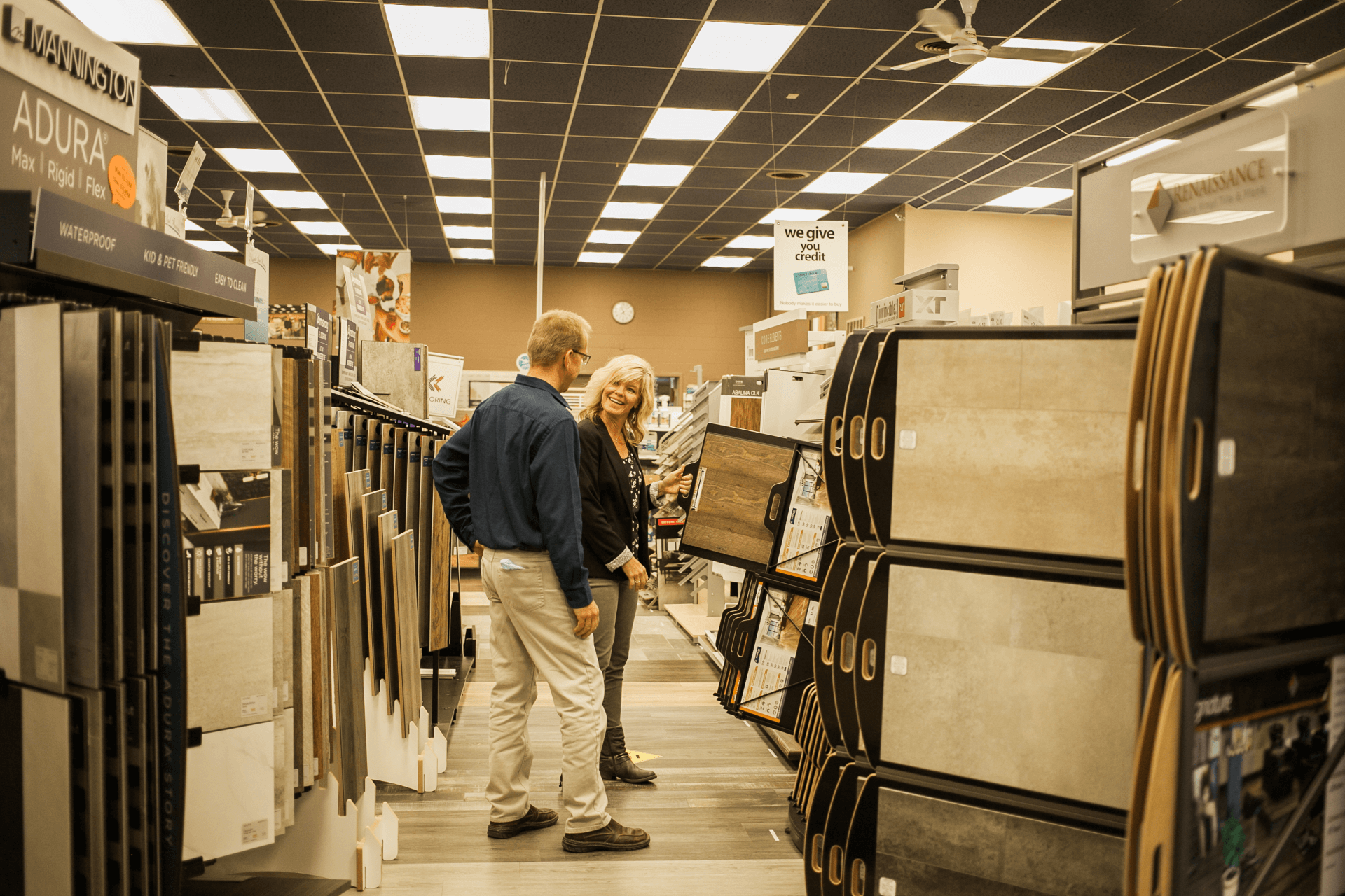 owners looking at carpet samples