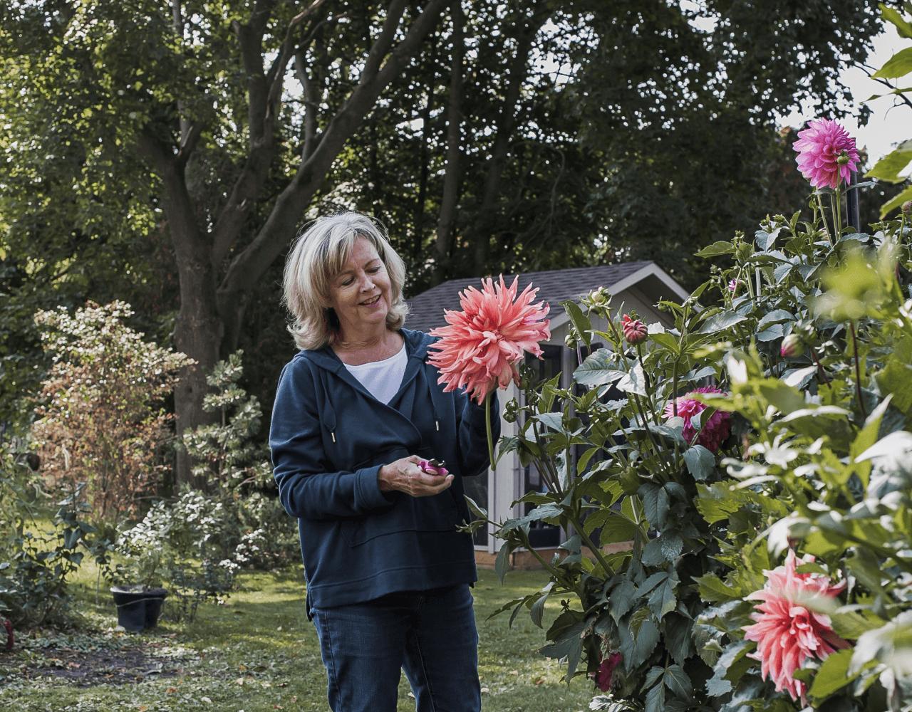 owner in garden