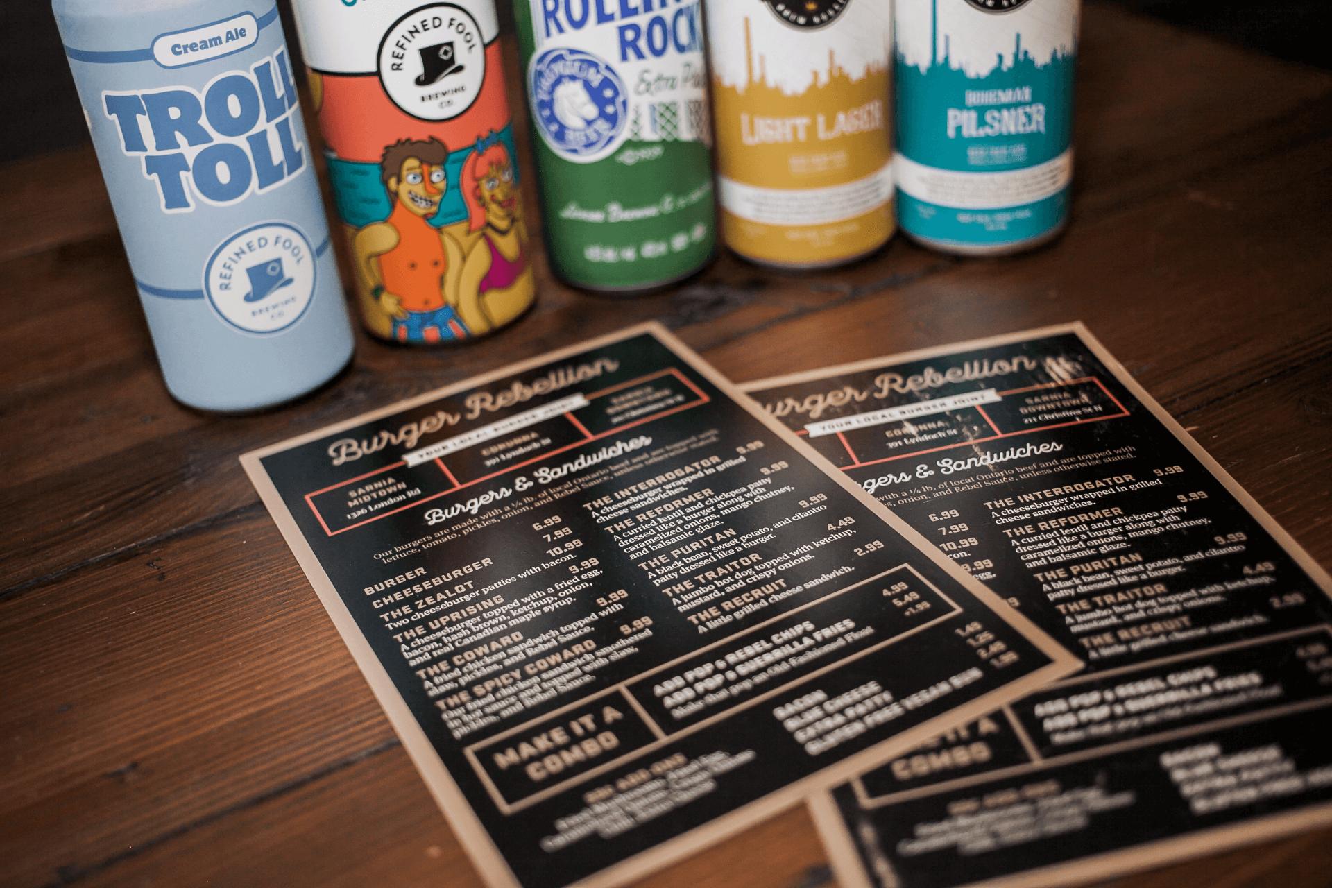 menu and beverages