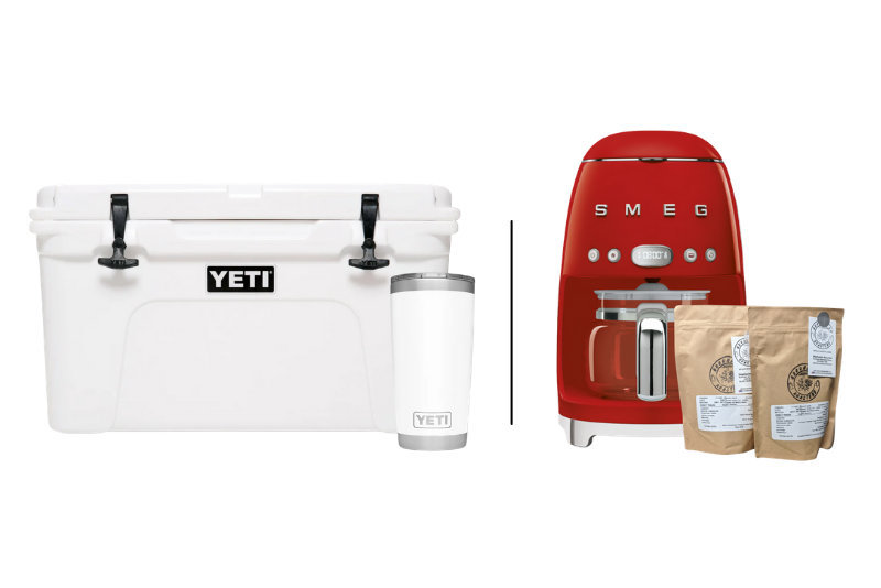 contest box showing yeti cooler, gift cards and water bottle