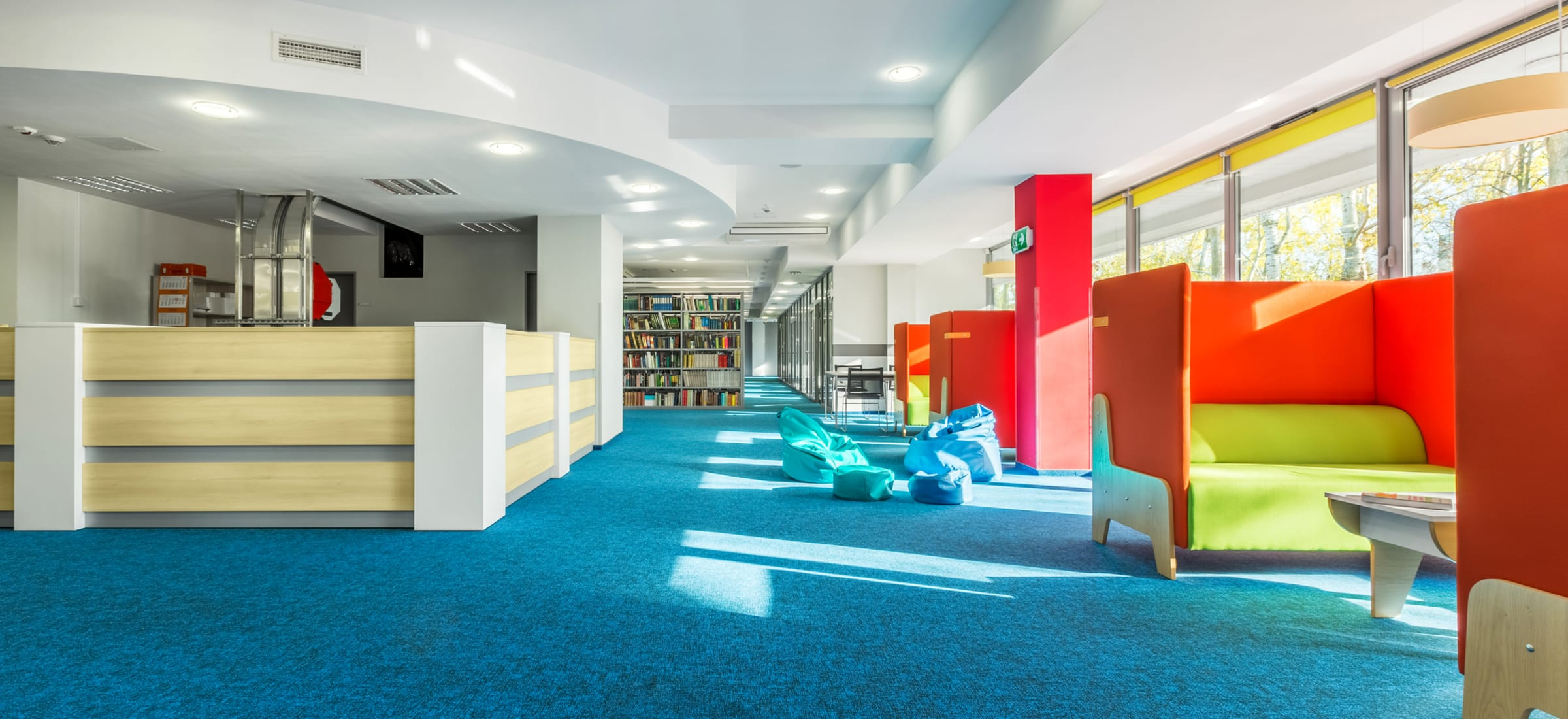 Colorful library with seating